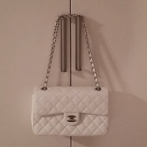 White Chanel double flap with silver hardware